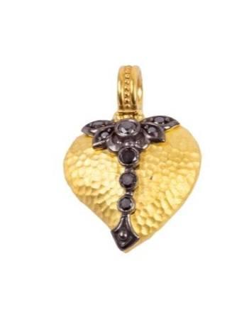 $1,190.00 Black Diamond Embroidery Heart Pendant