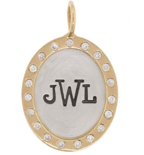 Monogram Diamond Wreath Oval Charm