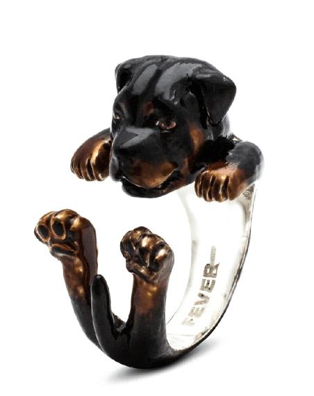 $260.00 ENAMEL HUG RING - ROTTWEILER