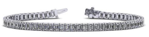 $9,050.00 18kw Emerald Cut Cultured Diamond Bracelet 10.24ctw