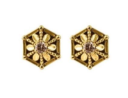 $890.00 18k Gold Brown Diamond Earrings
