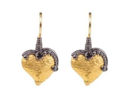 $1,390.00 Black Diamond Heart Drop Earrings