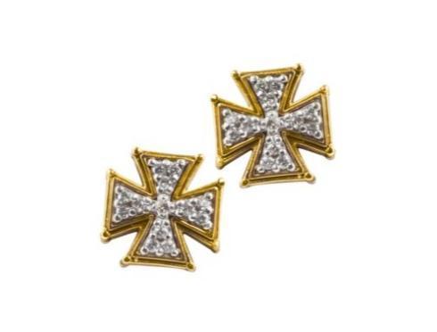$990.00 Sterling Silver & 18k Gold Cross Earrings