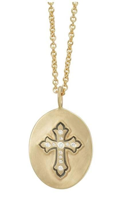 $2,650.00 Gold Oval Cross Necklace