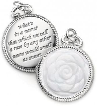 "$265.00 ""Beauty"" Engraved Rose Charm"