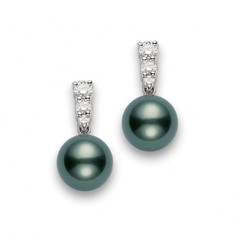 $4,000.00 Black South Sea Pearl and Diamond Earrings