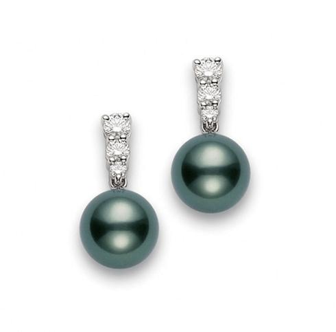 $3,000.00 Black South Sea Pearl and Diamond Earrings