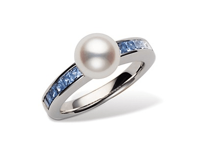 "$2,300.00 ""Ocean"" Sapphire and Pearl Ring"
