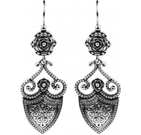 $395.00 Flower and Shield Dangle Earrings