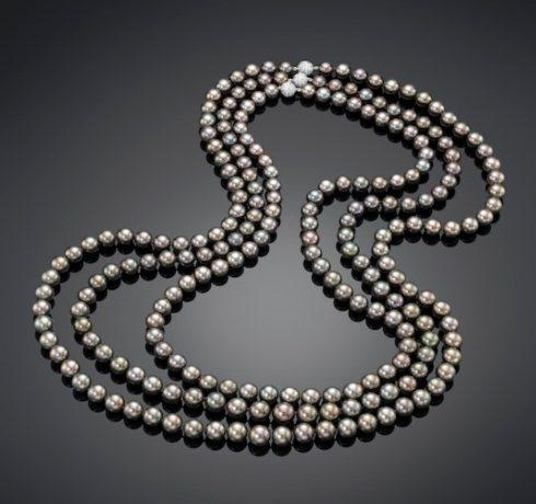 $1.00 CLASSIC TAHITIAN THREE STRAND CULTURED PEARL NECKLACE
