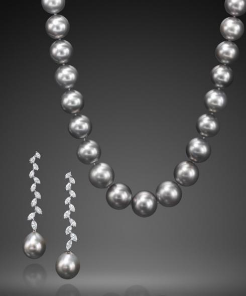 $1.00 CLASSIC TAHITIAN CULTURED PEARL NECKLACE AND EARRINGS
