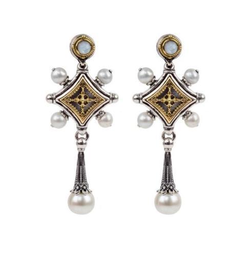 $875.00 Sterling Silver and 18kyg MOP Framework Drop Earrings with Pearls