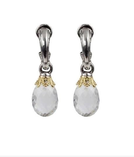 $390.00 Sterling Silver and 18kyg Crystal Drop Earrings