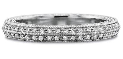Full Round Diamond Bead Set Beveled Band with Diamond Sides