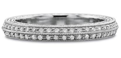 $10,000.00 Full Round Diamond Bead Set Beveled Band with Diamond Sides