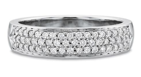 Half Round Two Row Diamond Pave Band