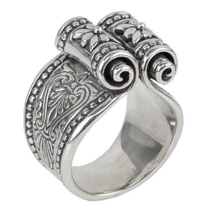 Etched sterling silver scroll ring