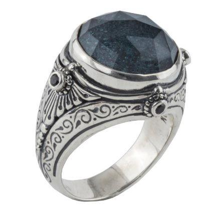 Sterling Silver Ring with Hematite Doublet and Spinel