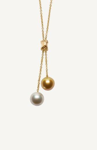 $4,270.00 Golden and White South Sea Pearl Lariat Necklace