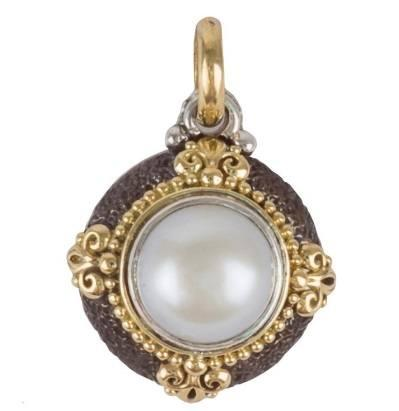 Sterling Silver & 18K Gold Round Stone Petite Pendant