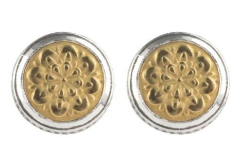 Sterling Silver and 18k Gold Rosette Stud Earrings
