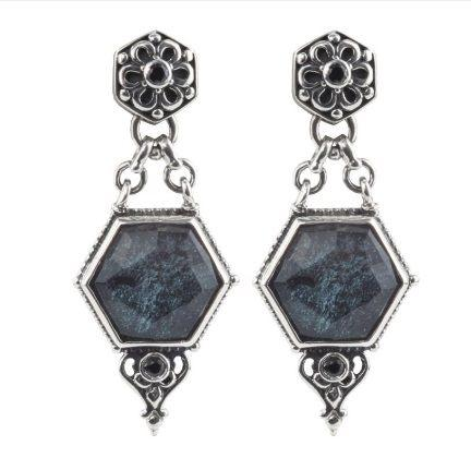 Sterling Silver Earrings with Specular Hematite Doublet and Spinel