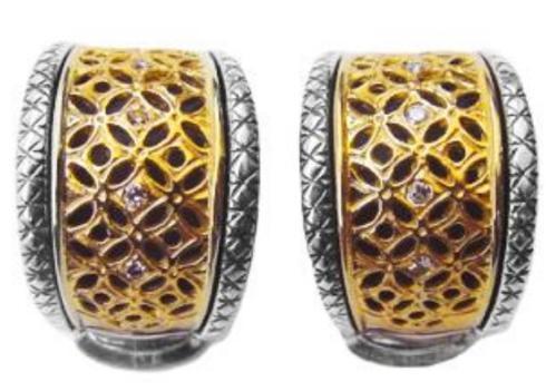 $1,480.00 Sterling Silver & 18k Gold Diamond Earrings non-pierce