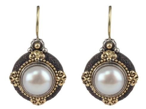 Sterling Silver & 18K Gold Earrings with pearl