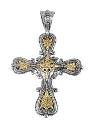 Etched sterling silver cross pendant with 18k gold accents