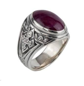 Sterling Silver Ruby Root Ring
