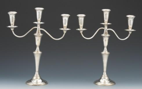 9 WAY Sterling Candlestick Pair