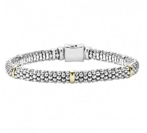 $495.00 LAGOS Signature Caviar Beaded Bracelet with Gold Stations
