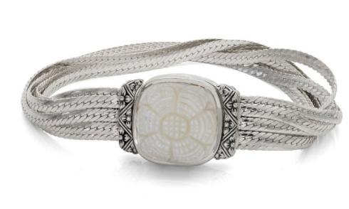 $795.00 Sterling Silver Fluid Chain Bracelet with Carved White Mother of Pearl