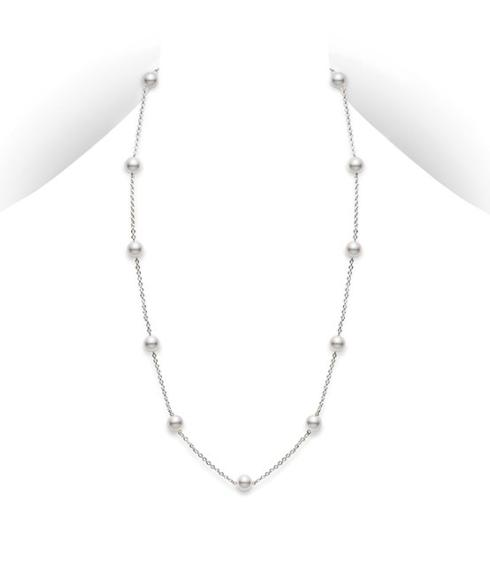 "$1,300.00 Akoya Cultured Pearl 18"" Station Necklace - 18 karat White Gold"