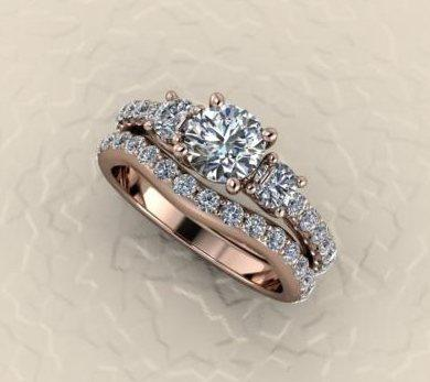 $1,000.00 nice wedding set in rose gold