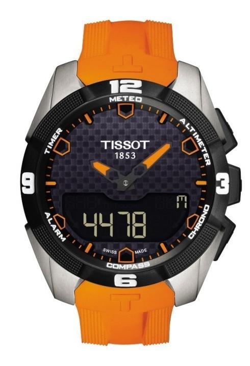 $1,150.00 T-Touch Expert Solar Men's Quartz Titanium Black Dial Watch With Orange Rubber Strap