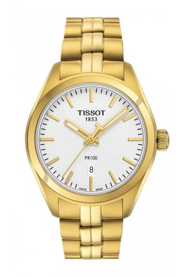 $425.00 PR 100 Women\'s Quartz Silver Dial With Yellow Gold PVD Stainless Steel Bracelet