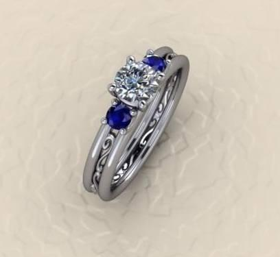 $1,000.00 Sapphire and Diamond with Filigree