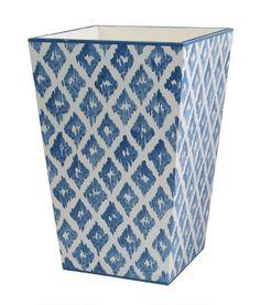 $105.00 Allen G Designs Blue and White Diamond Ikat Waistbasket