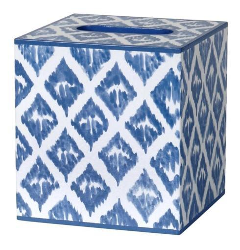 SOUTH Exclusives   Allen G Designs Waste Basket/Tissue Cover in Ikat Blue $105.00