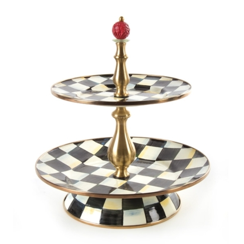 MacKenzie-Childs  Courtly Check COURTLY CHECK ENAMEL TWO TIER SWEET STAND $170.00