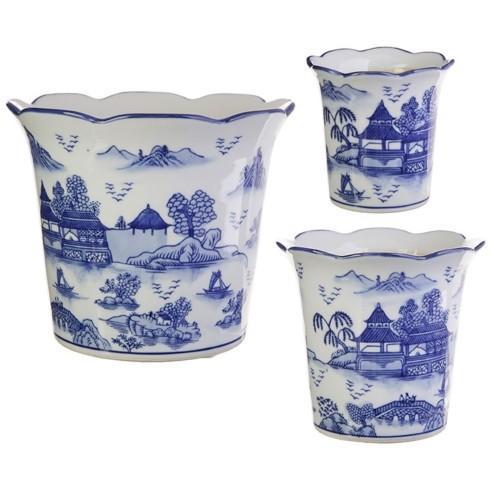 $25.00 Chinese blue flowerpot med