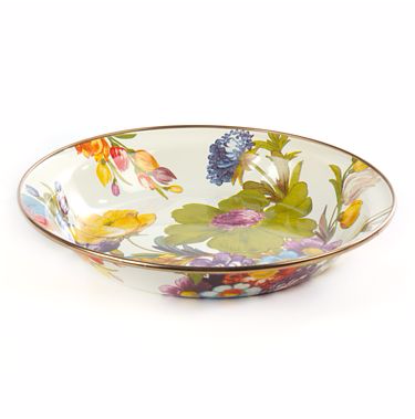$50.00 FLOWER MARKET PIE PLATE - WHITE