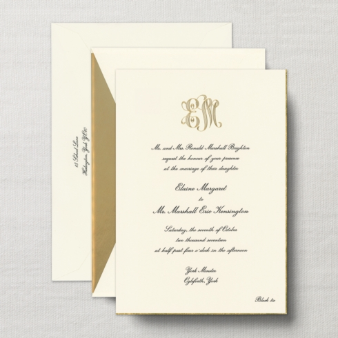 $28.88 Engraved Royalty Alexandria Invitation  with Gold Bevel. From $9.44 | per card. Call for price.