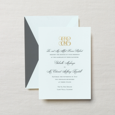 $23.00 Engraved Embassy Palazzo Invitation in Beach Glass. From $3.56 | per card. Call for price.