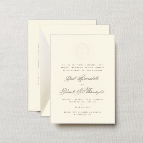 $24.48 Engraved Lily Pearl Bordered Invitation with Embossed Monogram.   From $5.04 | per card . Call for price.