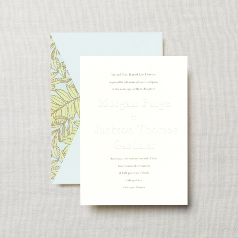 $23.24 Embossed Embassy Charleston Invitation with Beach Glass Envelope.  From $3.80 | per card.  Call for price.