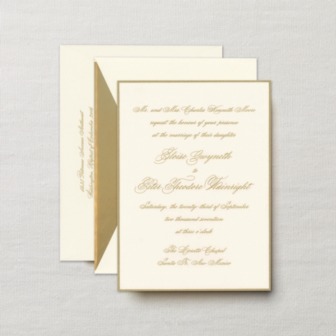$14.24 Engraved Embassy Biltmore Invitation with Gold Border. From $4.30 | per card. Call for price.