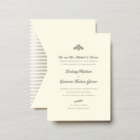 $13.24 Engraved Embassy Fairchild Invitation with Bouquet Motif.  From $3.30 | per card.  Call for price. .