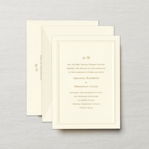$14.96 Engraved Embassy Dalloway Invitation with Beveled Pearl Panel.   From $5.02 | per card.  Call for price.